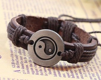 Handmade Brown Genuine Leather Charm Adjustable Bracelet.