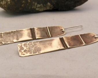 Brass shield form folded earrings