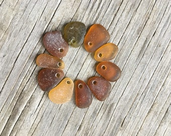 Top Drilled Genuine Sea Glass Charms, Real Beach Glass, Natural, Old Clorox Bottles, Vintage, Glass Beach California, Jewelry Supplies, Gold