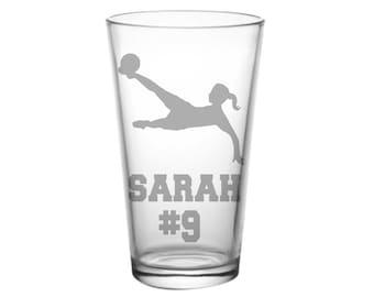 Soccer Coach Gift Glass Etched Pint Glass Christmas Gift