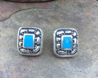 Sterling Silver And Turquoise Earrings Vintage