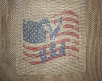 USA Rustic Burlap Flag Print