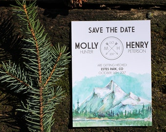 Watercolor Mountain / National Park Save the Date : DCo Lovenotes
