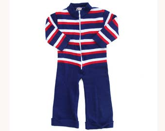 Vintage 70s striped baby outfit overall pajamas rompers jumpsuit 6/9 months