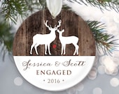 Engaged Ornament Personalized Christmas Ornament Engagement Ornament Faux Rustic wood Engagement Gift Names and Year OR495