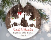 Big Sister Little Brother Christmas Ornament, Personalized Christmas Ornaments, Fawns Ornament, Deer Ornament, Rustic faux fake wood OR064