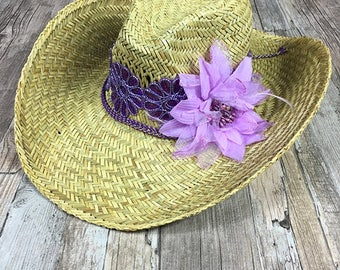 Gypsy Ibiza Straw Beach Hat - Cowboy Hat - Bohemian - Hippie hat