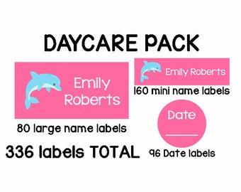 336 Personalized Waterproof Dishwasher Safe Name Labels Sippy Cup Baby Bottle Name Stickers Baby Girl - DAYCARE PACK - Pink Dolphins