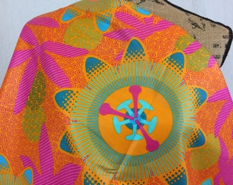 African Wax Print Fabric--Ankara Print Fabric--Genuine Vlisco Voila for You--Orange Teal Pink Giant Floral--African Fabric by the HALF YARD