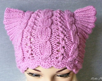 Pussy hat, lavender pink cat hat, knit cat hat, women's cat hat, hand knitted, cable beanie, animal hat, women's march hat, pink pussy hat