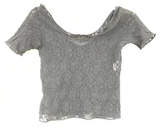90s black lace crop top