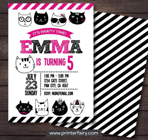 Kitten Invitation Cat Birthday Party Kitten Birthday Party Cat