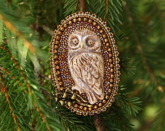 The owl is a beautiful and mysterious bird. Brooch beaded. Bead Embroidery Art