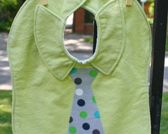 CLEARANCE SALE. One Necktie and Dress Shirt Baby Bib. Large Green Flannel Baby Bib.