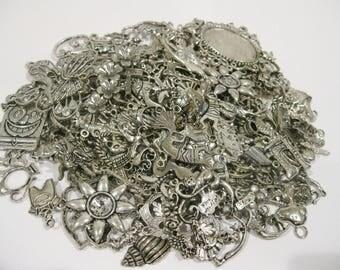 Charm Lot 50 Pieces Tibetan Silver Charms