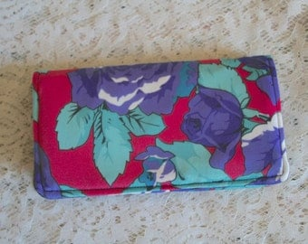 Fabric Checkbook Bright Floral Print Blues  Reds & Purples Polyester Fabric