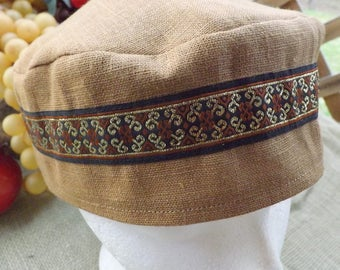 Migba'ah Turban Cap 100% Ginger Brown Linen with Matching Ribbon Trim