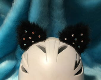 Black Cat ears with Clear jewels for Motorcycle Ski Snowboard Bike Helmets. The jewels are clear just reflection