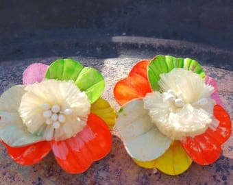 Pink red orange yellow and white flower earrings clip on