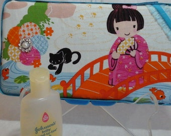 Baby girl wipe case Japanese themed fabric Anima new mom gift shower gift, new baby gift