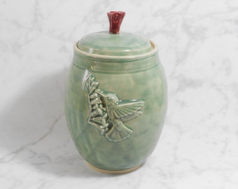 Green pottery jar - Hummingbird jar - pottery canister -  ceramic lidded jar - green hummingbird urn J44