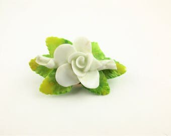 Porcelain Rose Brooch - 'Artone' - White Rose- A 'Hand-made English Bone China' Brooch - Rose and Buds With Yellow-green Leaves