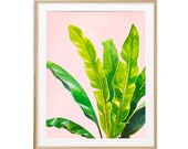 Banana Leaf Wall Art, Watercolor Plant Decor, Banana Plant Wall Art, Botanical Poster, Greenery Wall Decor, Tropical Nursery Decor