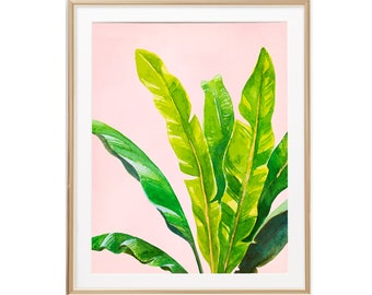 Banana Leaf Wall Art, Watercolor Plant Decor, Banana Plant Wall Art,  Botanical Poster