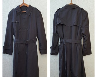 Vintage Black Rain Jacket Trench Coat  1970's Botany 500 Made In USA