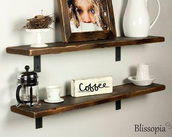 "Rustic Shelves - Rustic Wood Shelving - Farmhouse Shelf - Metal shelf brackets - Reclaimed Shelves - 7"" Wide,"
