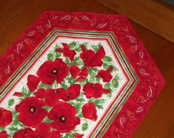Quilted Striped Table Runner - Red Poppies - Reversible