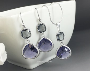 Purple and Grey Necklace and Earrings Bridal Jewelry Bridesmaid Necklace Bridesmaid Gifts Dark Purple Gray Charcoal Wedding Gift for Her
