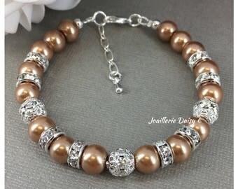 Champagne Bracelet Pearl Bracelet Pearl Jewelry Bridesmaids Bracelet Jewelry Gift for Moms Dark Chanpagne Bracelet Maid of Honor Gift
