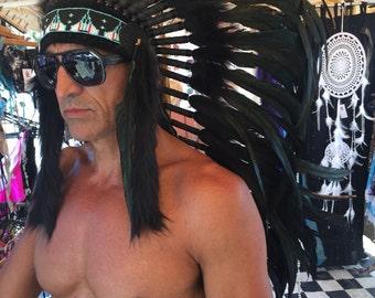 Big chief black feather headdress