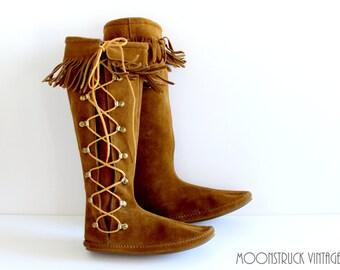 Vintage Brown Suede Leather Minnetonka Lace Up Fringe Boots Knee High Boho Festival 5 -6
