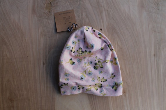 Newborn slouchy beanie- pink floral- slouchy hat- toddler slouchy toque- hipster baby clothes- trendy baby clothes- gender neutral