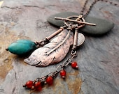 Copper Raven Feather Charm Necklace    hand forged bird feather with turquoise and carnelian accents