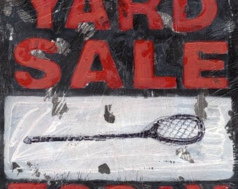 Lacrosse art- Lax Stick Yard Sale- Vintage style sports wall art by Aaron Christensen.  A perfect piece for Lacrosse Fans and Players.