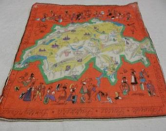 Vintage Switzerland Handkerchief, Orange, S