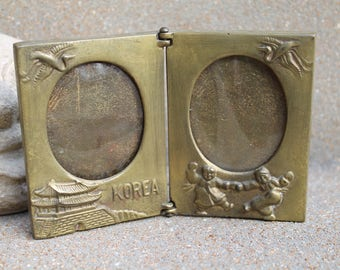 Vintage Brass Frame, Double Frame, Double Picture Frame, Made in KOREA, Small Frame, Collectable