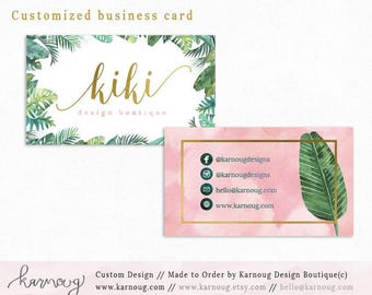 Business Card|Instant Business Cards|Tropical Business Cards|Custom Business Cards|Printable Business Cards|Watercolor|Gold|Printable Cards