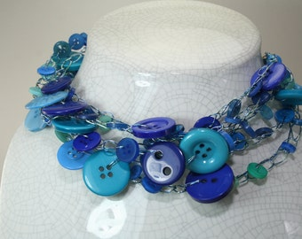 Wire crochet blue button five strand adjustable necklace