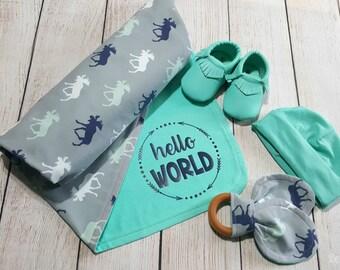 Baby Boy Swaddling Blanket, Hello World Blanket Gift, Baby Shower Gift, Teething Ring, Baby Moccasins, Baby Hat