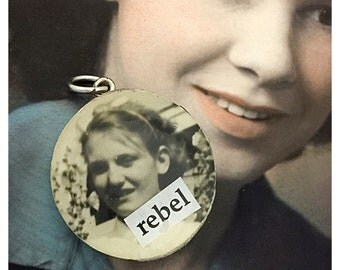 Vintage Upcycled Checker Photobomb Jewelry Pendant Charm - Rebel