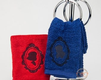 """Two (2) Steven Universe Ruby and Sapphire """"Her and Her"""" Inspired - Embroidered Hand Towels Set"""