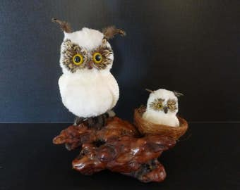 Macrame' White Owl and Owlet Sculpture On Gnarled / Burled Wood
