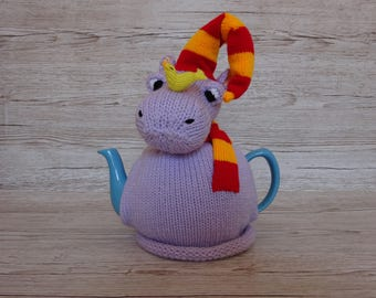 Knitted Tea Cosy Cozy Harriet the Hippo Wearing a Scarf and Hat along with a Duck on his Nose Shabby Chic