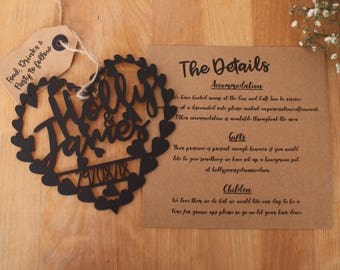 X100 wedding Invitation Invite Laser Cut Heart Handwritten