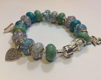 European Style Charm Bracelet - Turquoise -  FREE P&P - FREE Gift Box