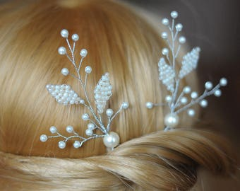 ivory hair pin leaf hairpins ivory leaf hairpin ivory hairpiece two bridal pins pair wedding pins pearls pin pearl branch pin floral hairpin